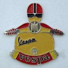 Vespa Scooter Man Lapel-Pin Badge
