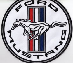 Mustang White Back Patch