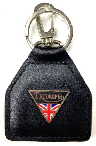 Triumph triangle and Flag Genuine Leather Keyring/fob