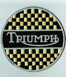 Triumph Yellow Chequered Round Patch
