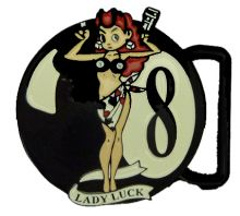 Lady Luck 8 Ball Belt Buckle