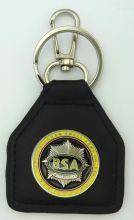 BSA Round Yellow Star genuine leather keyring/Fob
