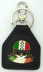 Moto Guzzi Helmet genuine Leather keyring/fob
