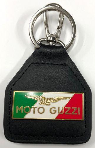 Moto Guzzi Tri colour Genuine Leather Keyring/Fob