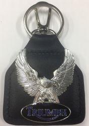 Triumph Eagle Wings Keyring/Keyfob Genuine Leather