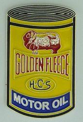 Goldern fleece Oil Can Badge