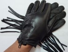 Ladies Zippered Fringe Gloves