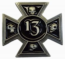 13 Iron Skull Cross Badge