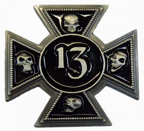 13 Iron Skull Cross Badge