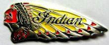 Indian Profile War Bonnet  Metal Badge