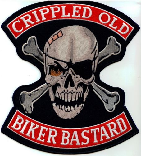 Cripple Old Biker Bastard Back Patch