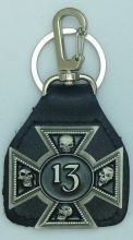 13 Skull Leather Keyring