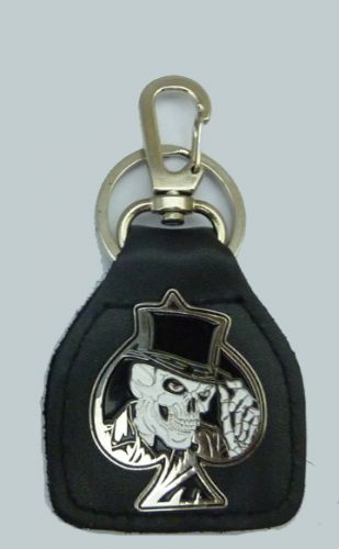 Skull Top hat Ace Leather Keyring