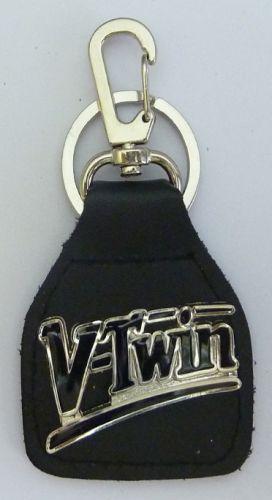 V/Twin Script Leather Keyring