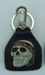 Born to Ride Skull Leather Keyring