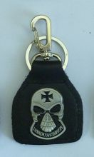 Hardcore Skull Leather Keyring