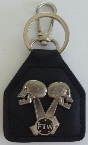 Skull FTW Piston Heads Keyring