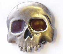 Belt Buckle Red Eyed Skull 1/2Head