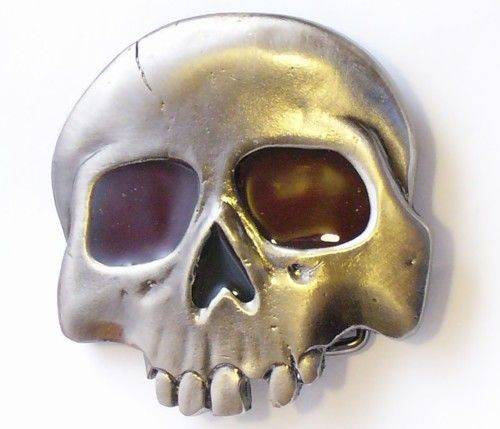 Belt Buckle Red Eyed Skull 1/2Head
