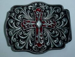 Belt Buckle Celtic Cross Red and Black