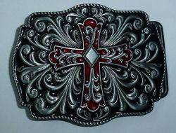 Belt Buckle Celtic Cross Red and Black