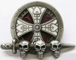Belt Buckle Celtic Skull Sheild