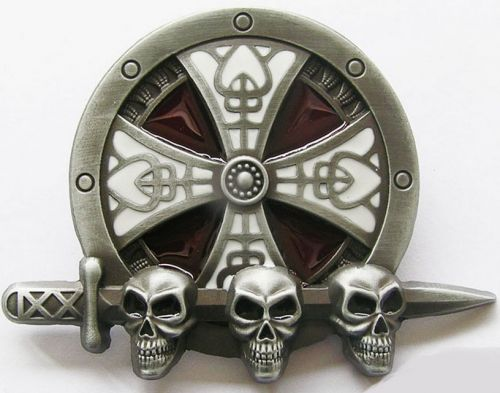 Belt Buckle Celtic Skull Sheild