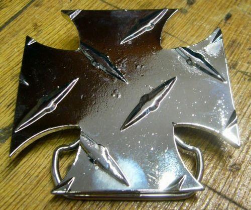 Belt Buckle Iron Cross Chequered Plate