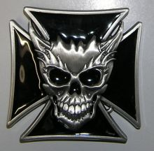 Belt Buckle Maltese Cross&Skull Flames