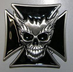 Belt Buckle Maltese Cross&Skull Flames