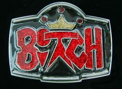 Belt Buckle Bitch Red Sparkle