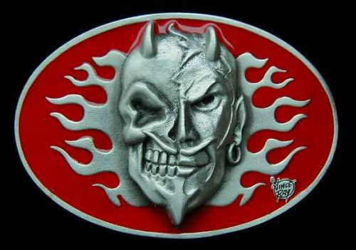 Belt Buckle Red Skull Flamed Devil