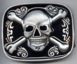 Belt Buckle Skull Cross Bones Rec