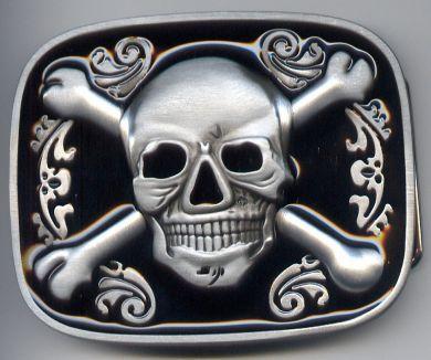 Belt Buckle Skull Cross Bones Rec