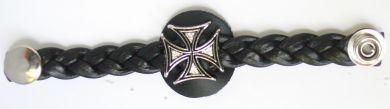 Vest Extender Braided Leather Maltese Cross
