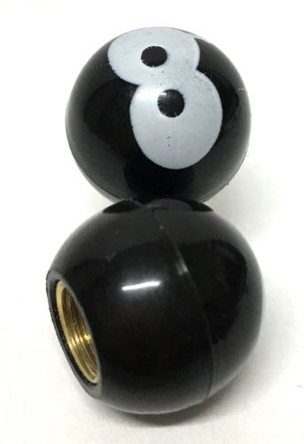 Valve Caps Black Plastic 8 Ball