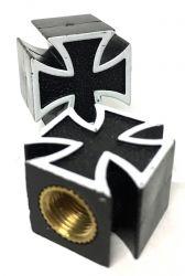 Valve Caps Black Plated Maltese Cross